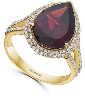 Effy Rhodolite Garnet (6-1/10 ct. t.w.) & Diamond (1/2 ct. t.w.) Teardrop Halo Ring in 14k Gold