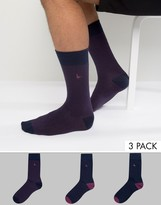 Jack Wills Alandale Dot 3 Pack Socks Navy