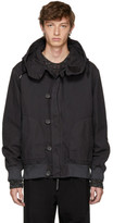 Robert Geller Black Dyed Hooded Bomber Jacket