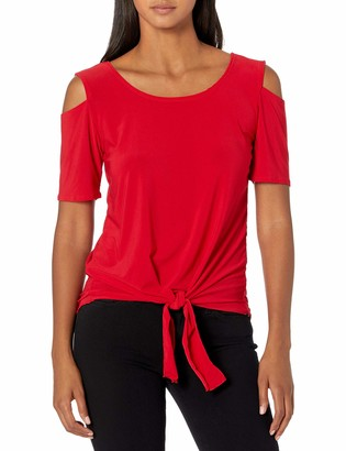 Star Vixen Women's Cold-Shoulder Cutout Short Sleeve Tiefront Smooth Knit Top