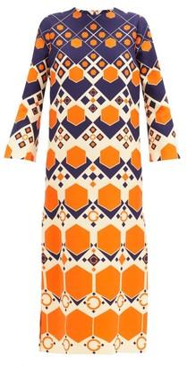 Gucci Hexagon-print Silk-blend Crepe Dress - Navy Print