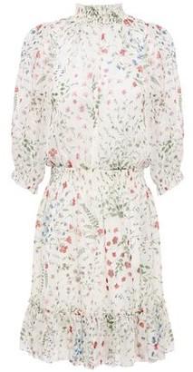 Joie Shima Shirred Floral-print Fil Coupe Mini Dress