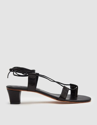 Martiniano Women's Pavone Sandal in Black, Size 36.5 | Leather