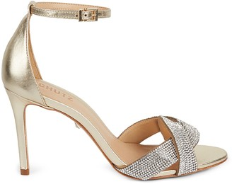 Schutz Jolita Embellished Metallic Leather Sandals