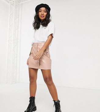 Miss Selfridge Petite croc faux leather skirt in nude