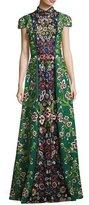 Alice + Olivia Nidia Embellished Mock-Neck Evening Gown