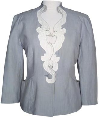 Emmanuelle Khanh Grey Linen Jacket for Women Vintage