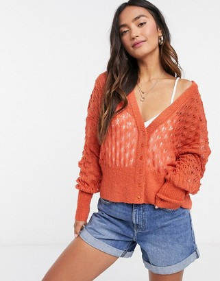Y.A.S open stitch cropped cardigan in orange
