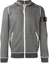 Stone Island arm patch zipped hoodie - men - Cotton/Polyester - L