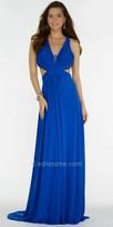 Alyce Paris Ruched Open Back V-neck Evening Dress