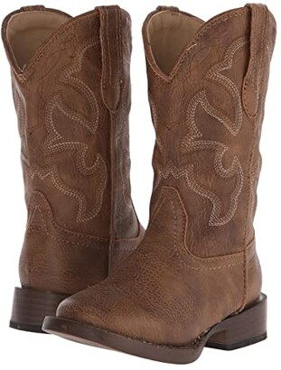 Roper Cole Square Toe Boot (Toddler/Little Kid) (Tan) Cowboy Boots