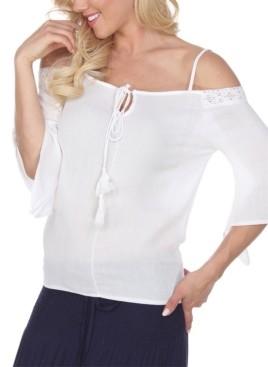 White Mark Women's Cold Shoulder Peasant Top