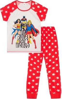 Thepyjamafactory DC Comics We Rule The World Women's Long Pyjamas Size UK 6 to 24 Ladies (10-12) Red