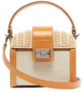 Rodo Wicker And Canvas Clutch Bag - Womens - Beige Multi