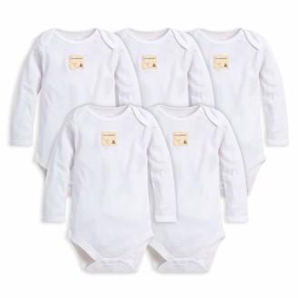 Burt's Bees Baby - Set of 5 Bee Essentials Solid Long Sleeve Bodysuits 100% Organic Cotton Cloud (3-6 Months)