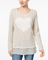 Style&Co. Style & Co. Lace-Heart Sheer-Hem Top, Only at Macy's