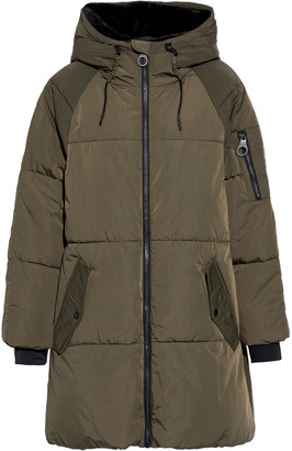 DKNY Faux Fur-trimmed Printed Quilted Shell Parka
