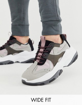 Asos Design DESIGN Wide Fit trainers in colour pop with chunky sole-Grey