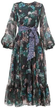 Beulah - Sara Forest-print Silk-chiffon Dress - Womens - Green Multi