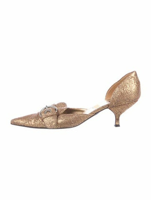 Prada Printed Sequin Embellishments Pumps Gold