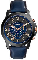 Fossil Grant Black Stainless Steel Leather Strap Watch