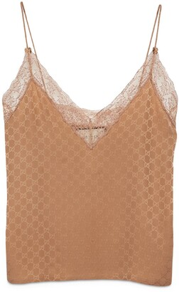 Gucci GG silk and lace lingerie top