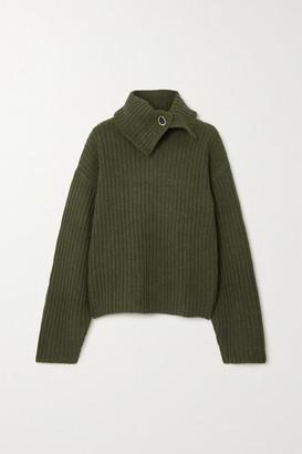 REMAIN Birger Christensen Francine Embellished Ribbed Melange Wool Turtleneck Sweater - Dark green