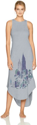 Munki Munki Women's Jersey Screen Printed Maxi Gown with Pockets