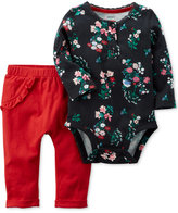 Carter's 2-Pc. Cotton Henley Bodysuit and Pants Set, Baby Girls (0-24 months)