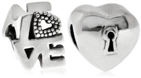 Rhona Sutton 4 Kids Children's Love Lock Bead Charms - Set of 2 in Sterling Silver