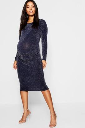 boohoo Maternity Shimmer Long Sleeve Bodycon Dress
