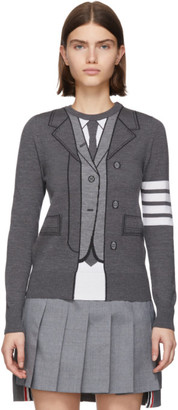 Thom Browne Grey Trompe LOeil TB Suit Sweater