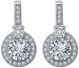 Lafonn Platinum Plated Sterling Silver Simulated Diamond Micro Pave Round Dangle Earrings