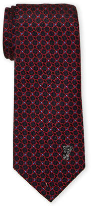 Versace Red Silk Geometric Pattern Tie