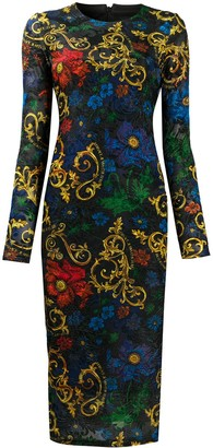 Versace Floral-Print Fitted Midi Dress