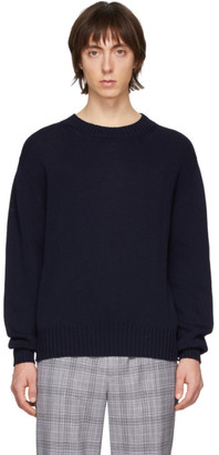 Schnaydermans Navy Mercerized Crewneck Sweater