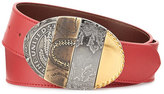 Maison Margiela Oval Mixed-Pattern Leather Belt, Red