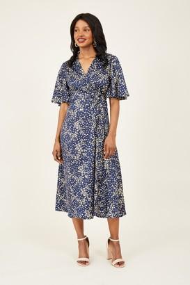 Yumi Navy Foil Wrap Midi Dress