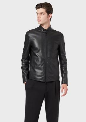 Emporio Armani Semi-Aniline Nappa Leather Jacket With A Soft Feel