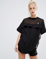 Lazy Oaf Oversized T-Shirt With Sheer Insert And Frill