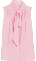 Oscar de la Renta Pussy-bow Pleated Silk Crepe De Chine Top - Baby pink