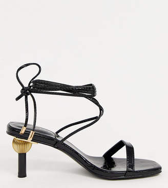 Z Code Z Z_Code_Z Hila ankle tie sandals with statement heel in black