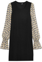 Love Moschino Stretch-Knit And Floral-Print Chiffon Mini Dress