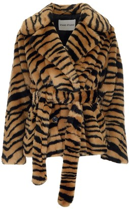 Stand Studio Tiffany Tiger Print Belted Jacket