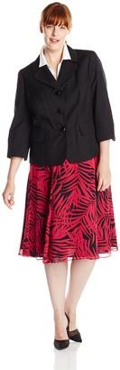 Le Suit LeSuit Women's Plus-Size 3 Button Glazed Jacket and Skirt Suit Set