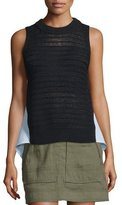 Veronica Beard South Beach Sleeveless Combo Sweater, Black
