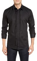 Bogosse Men's Alonzo Trim Fit Pleat Trim Check Jacquard Sport Shirt
