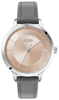 BOSS Stainless-steel watch with two-tier dial and leather strap