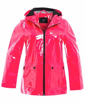 SS7 Womens Rain Mac Waterproof Vinyl Patent Raincoat Jacket Neon Pink