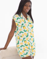 Soma Intimates Cap Sleeve Notch Collar Pajama Top Lemon Citrus Ivory